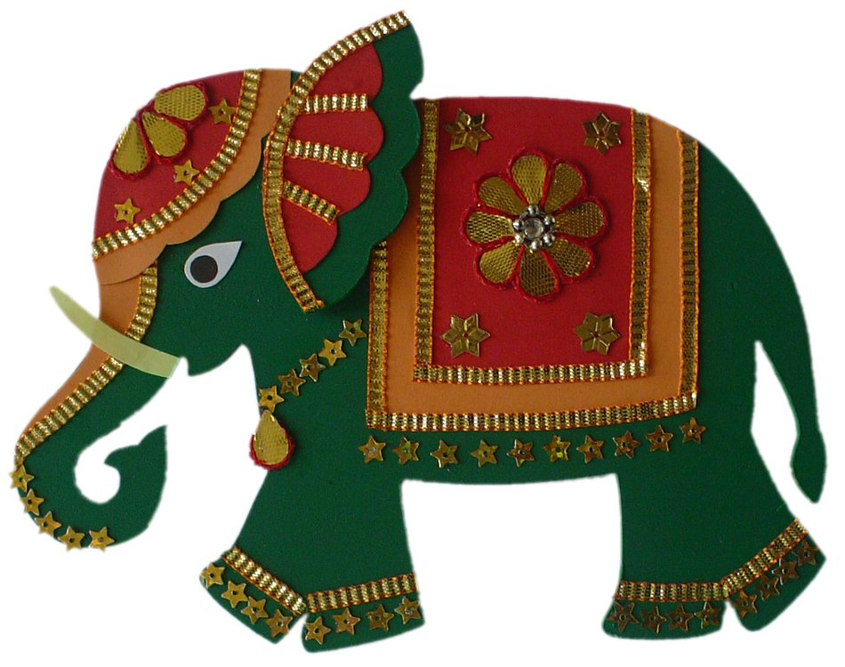 ornate cartoon Indian Elephant