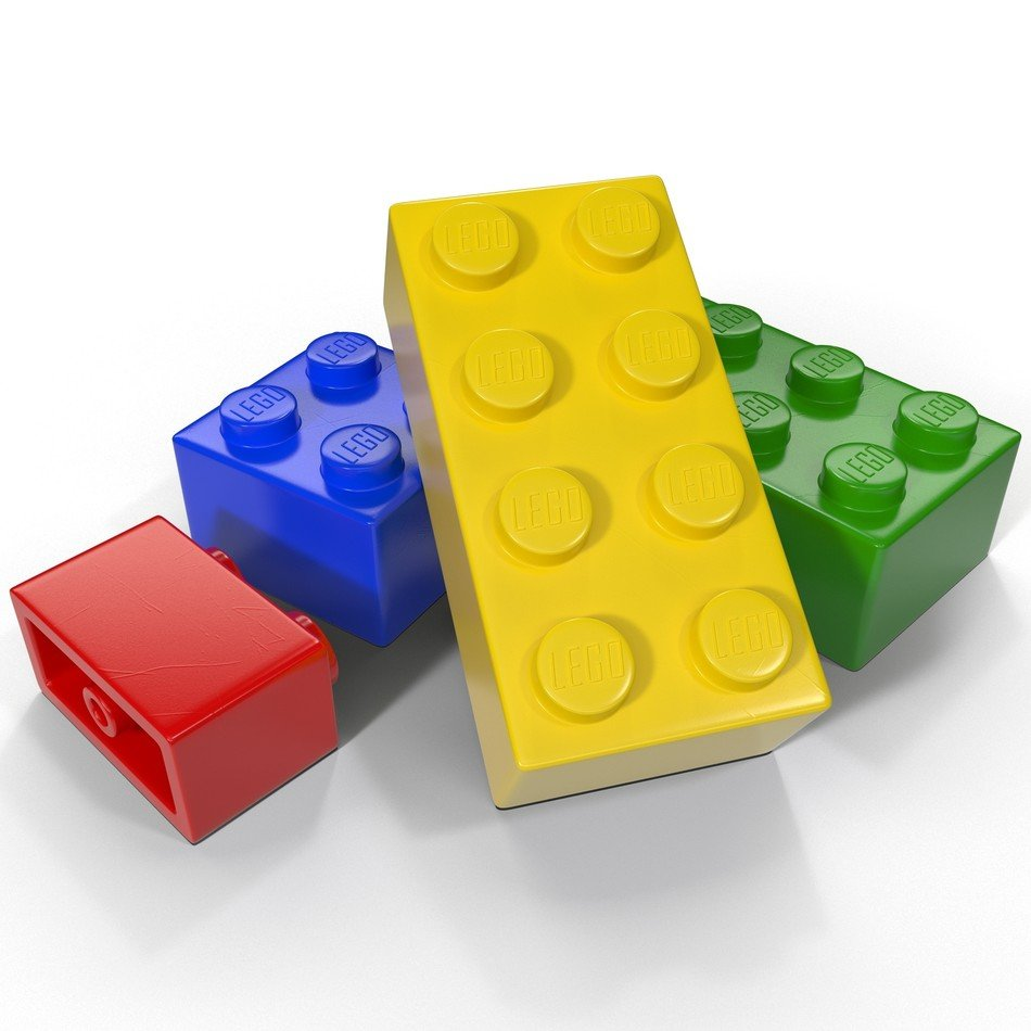 Lego color blocks on a white background
