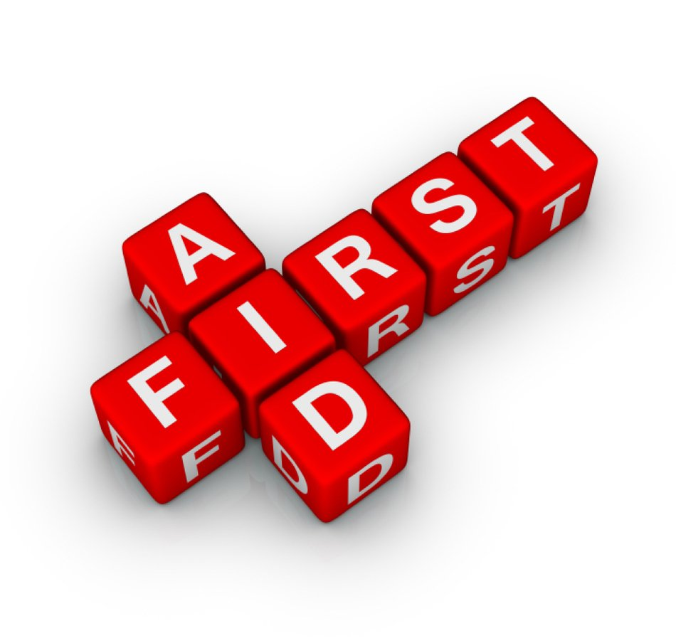 First Aid cross text