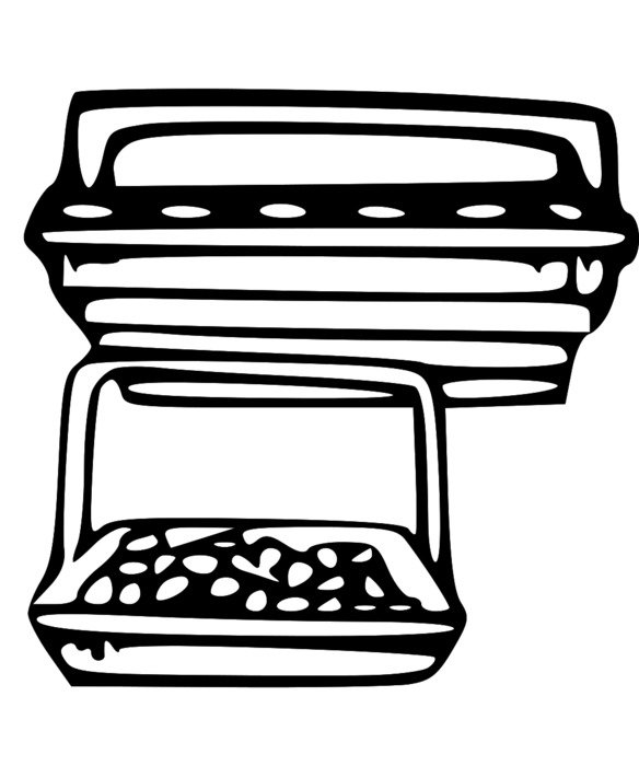 Black and white drawing of LDS Sacrament Tray clipart