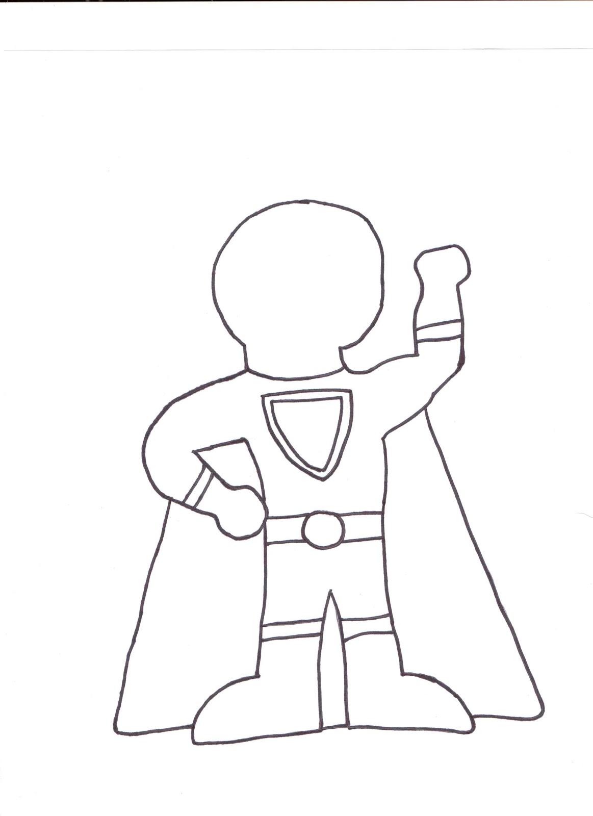 Superhero Kid Template drawing free image