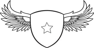 Black and white drawing of Coat Of Arms clipart