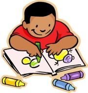 preschooler with colored pencils as a graphic illustration