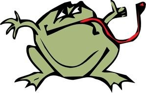 Cartoon fat Frog with long red tongue