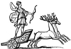 painted Artemis riding in a chariot