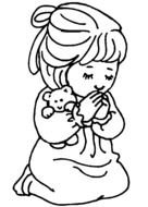 Little Girl Praying as a graphic illustration