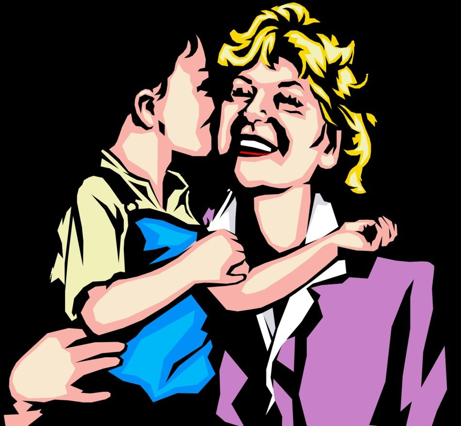Colorful drawing of the mother with the little boy clipart