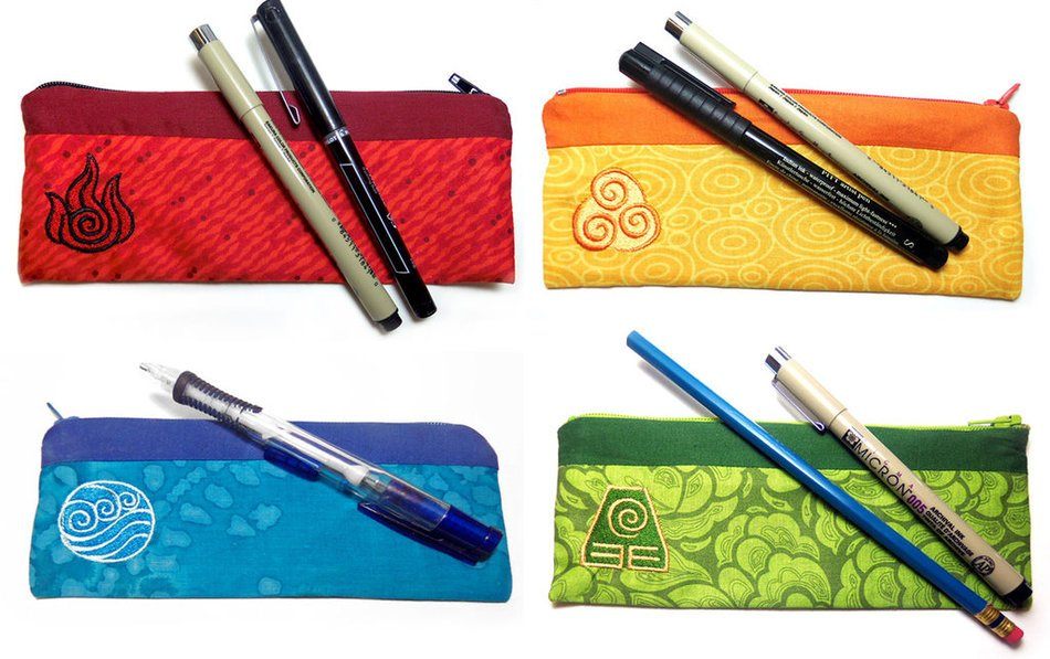 different pencil cases as a picture for clipart