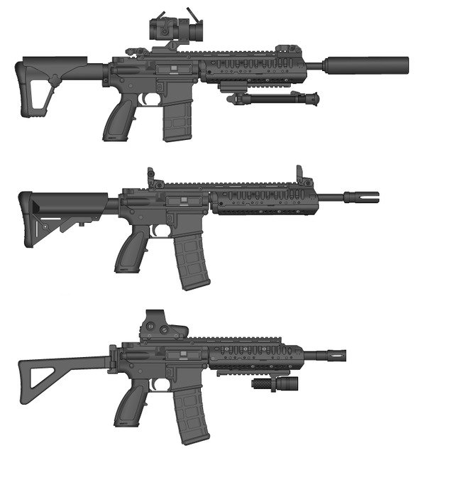 AR 15 Rifle weapon drawing