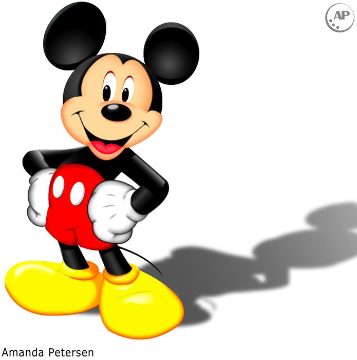 cartoon Mickey Mouse with shadow