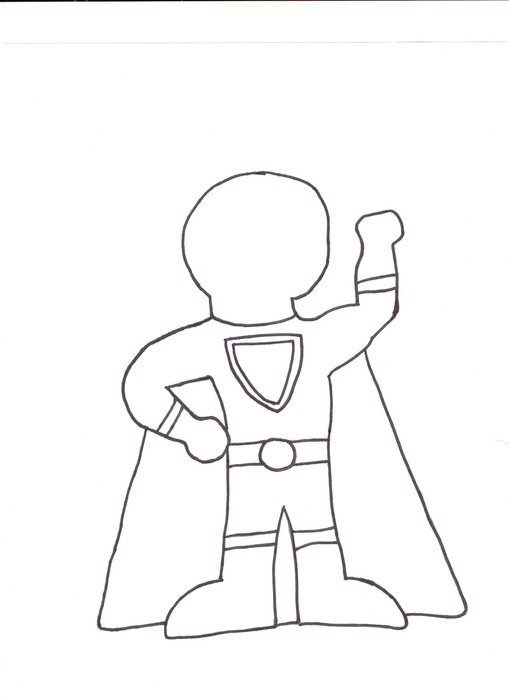 Superhero Kid Template drawing