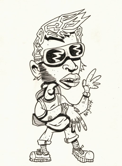Black and white drawing of the 'Cool Dude' clipart