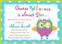 Colorful Owl Invitation clipart