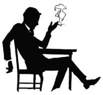 Lazy Man smoking at table, vintage silhouette
