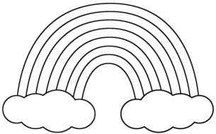 Colorless clip art of Rainbow