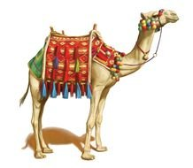 painted camel with a red saddle