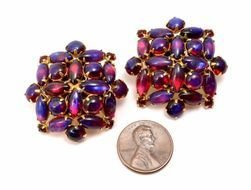 Signed Purple Red Dragons Breath Glass Opal Cab Clip On Earrings