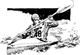 drawing of a man in kayak