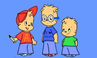 three cartoon characters as a picture for clipart