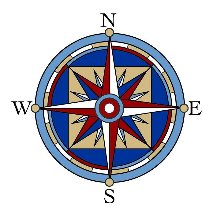 drawn multicolored compass and wind rose