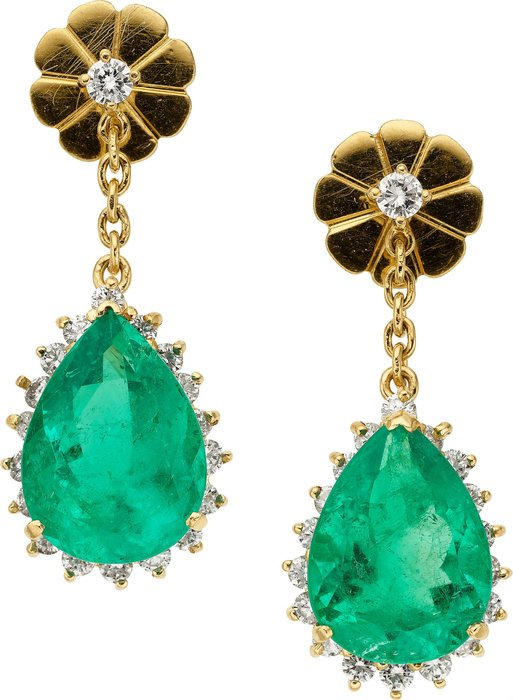 gold earrings with large green stones