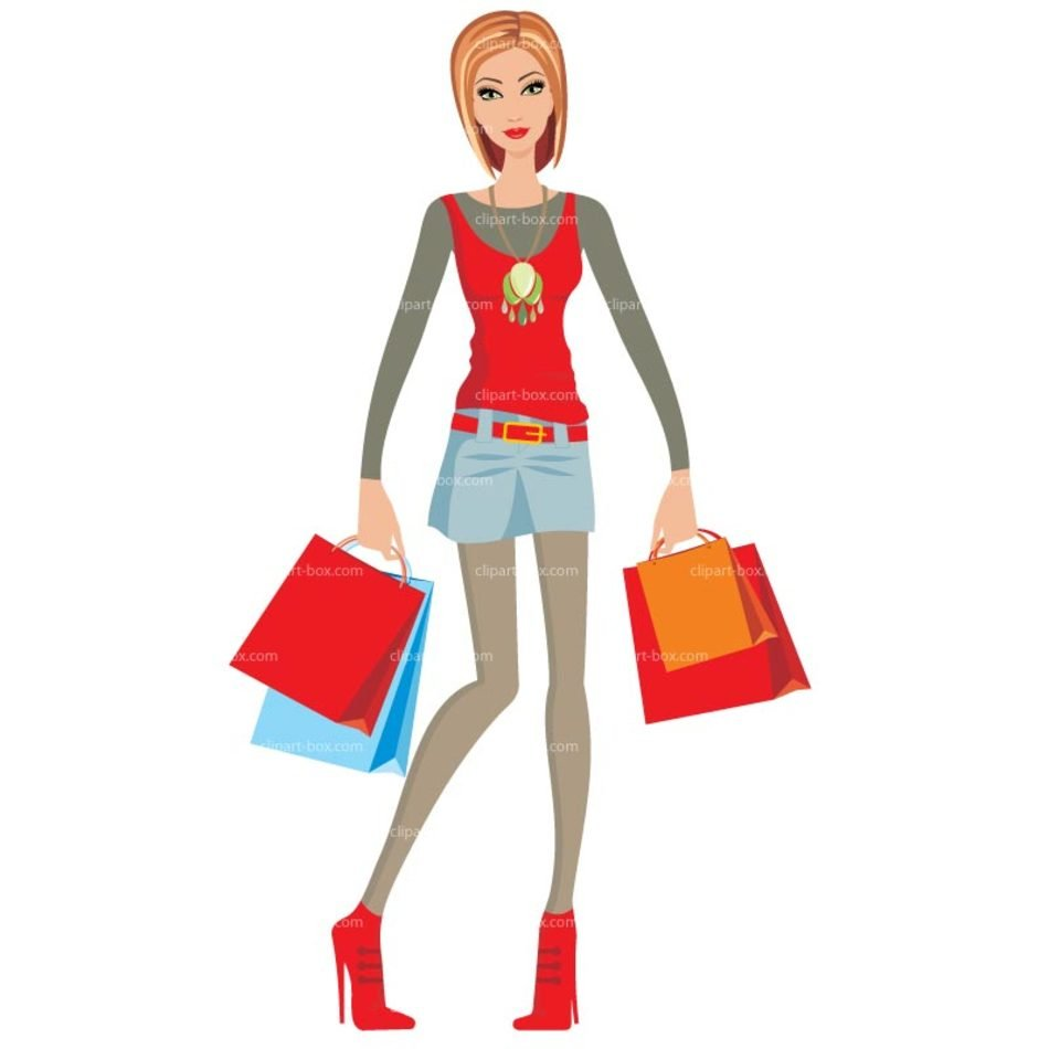 Clip art of Lady Shopping