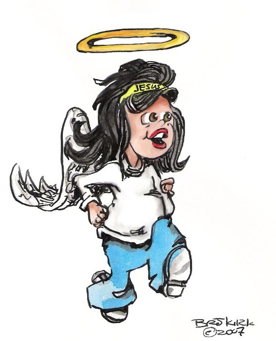 Colorful drawing of the Running Angel clipart