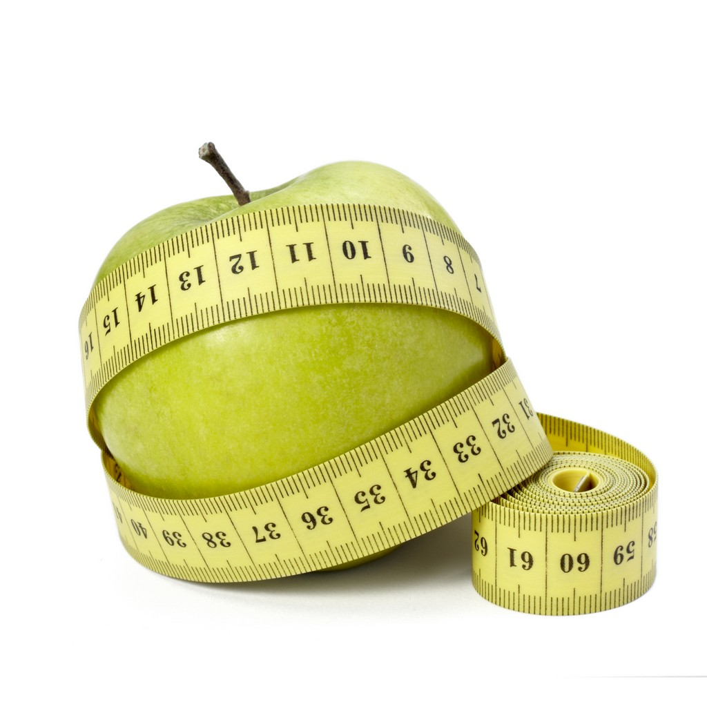 Measuring Tape Around Green Apple Weight Loss Free Image