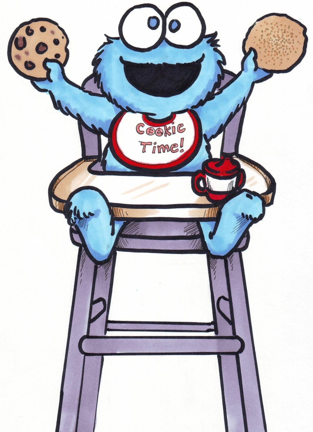 Happy Baby Cookie Monster On Chair Drawing Free Image
