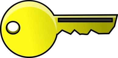 Yellow cartoon key clipart