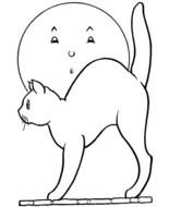 Halloween Cat Coloring Page drawing