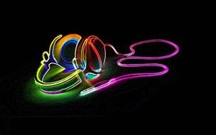 Cool colorful Neon headphones, drawing
