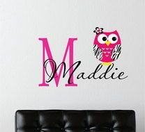 Owl Baby Nursery Name Wall Decals drawing