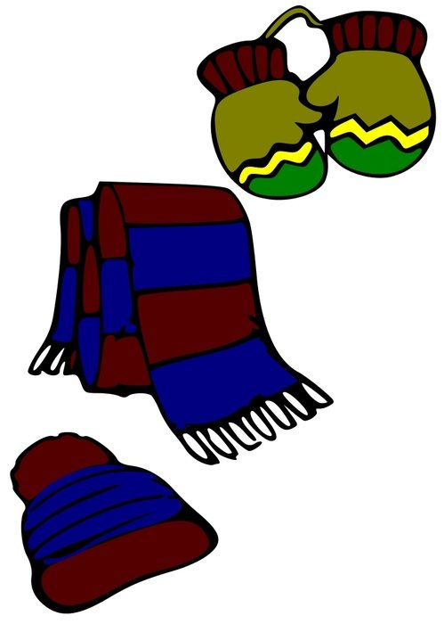 Clip Art of Mittens and Hats and Scarves