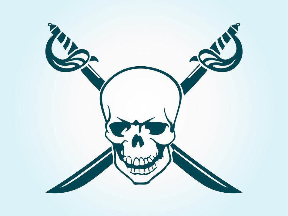 skull with swords on a blue background