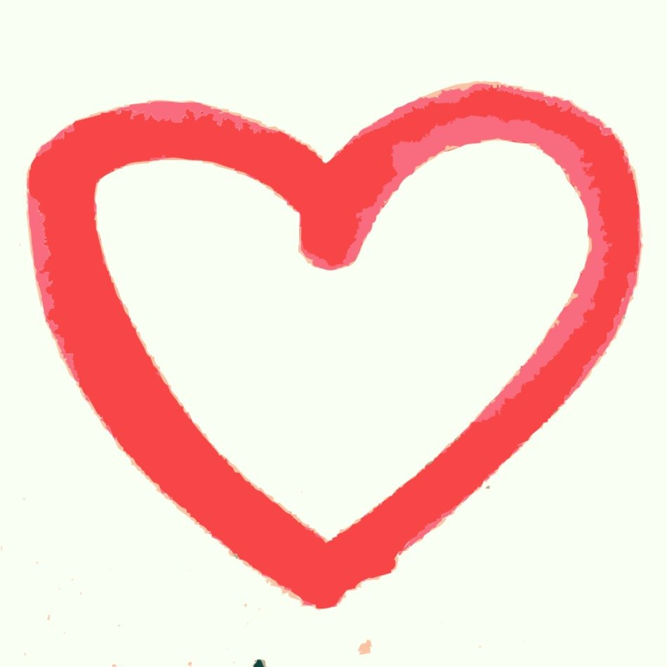 Hand Drawn Heart, red outline, Clip Art