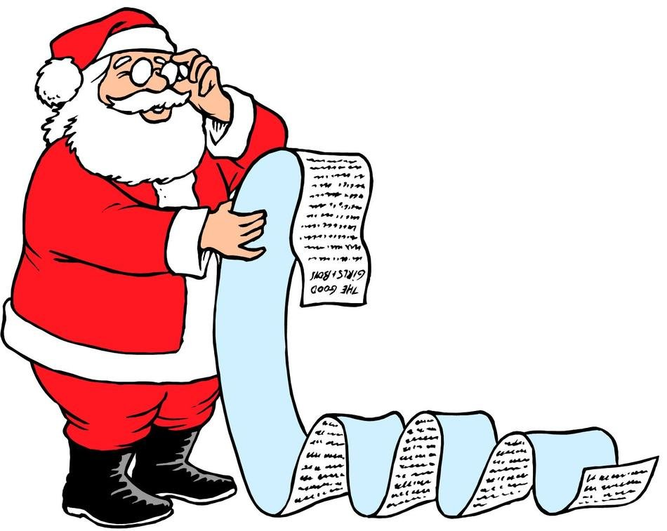 Santa Claus reads very long letter, Clip Art