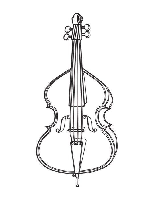 Cello, Black And White drawing