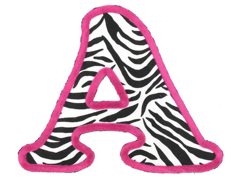 Letter A in zebra color on a white background