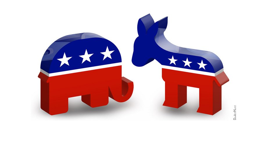 Republican Elephant And Democratic Donkey Clipart