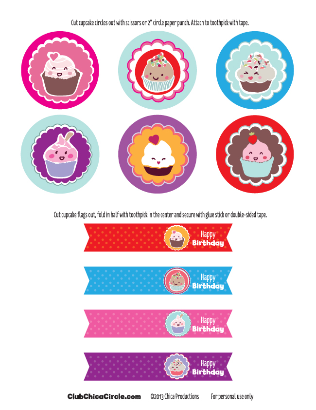FREE PRINTABLE HAPPY BIRTHDAY CUPCAKE TOPPERS