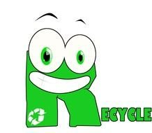 recycle, green funny lettering