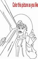 Jesus with cross, Coloring Page
