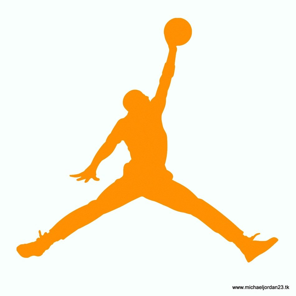 silhouette of michael jordan on a white background
