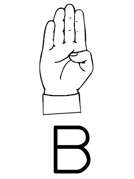 Sign Language, Gesture for Letter B, drawing