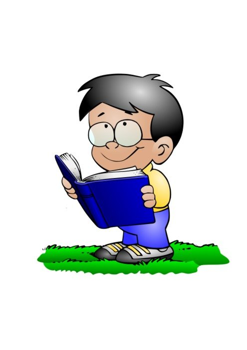 small Boy Reading Book drawing