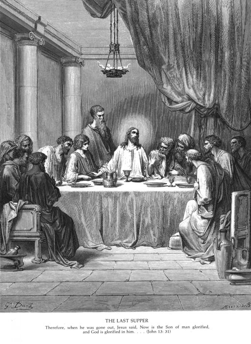 Last Supper monochrome drawing