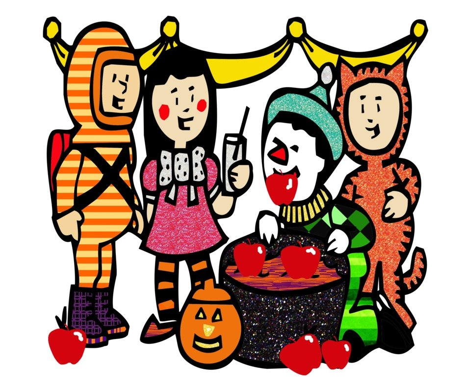 cartoon people in costumes on Halloween party, Clip Art