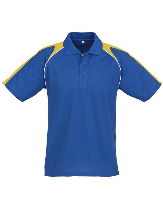 blue t-shirt with yellow stripes