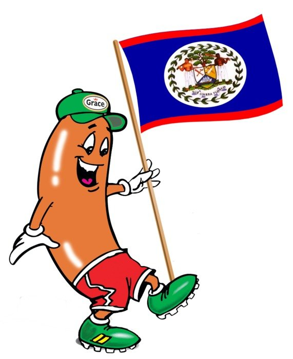 drawn sausage in a sports uniform with a flag